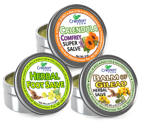 Herbal Salves Variety 3-Pack  - 4 oz Tins by Creation Farm - Creation Pharm