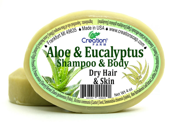 Aloe & Eucalyptus Shampoo & Body Bar Two 4 oz Bar Pack by Creation Farm - Creation Pharm