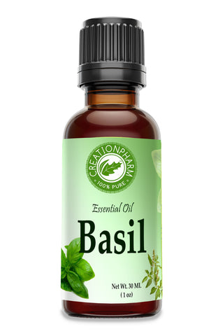 Basil Essential Oil 30ml (1 oz) 100% Pure- Albahaca Aceite Esencial - Creation Pharm