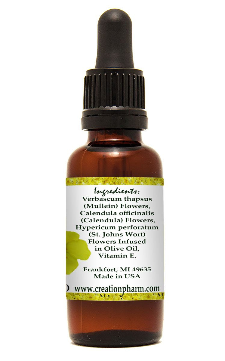 Herbal Ear Drops Oil 1 oz - Calendula, St. Johns wort and Mullein Aceite de oreja a base de plantas - Creation Pharm