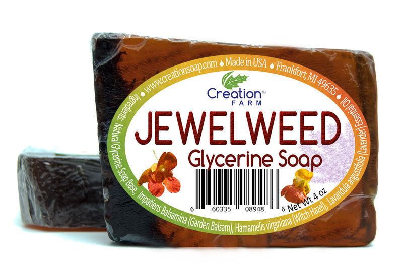 Jewelweed Soap for Poison Ivy Wash and Soothing 4oz Bar (Two 4 oz Bar Pack) - Creation Pharm