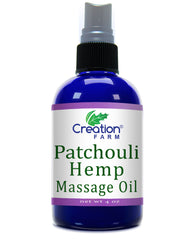 Patchouli Hemp Massage & Moisturizer Skincare Oil 4 oz by Creation Farm - Creation Pharm