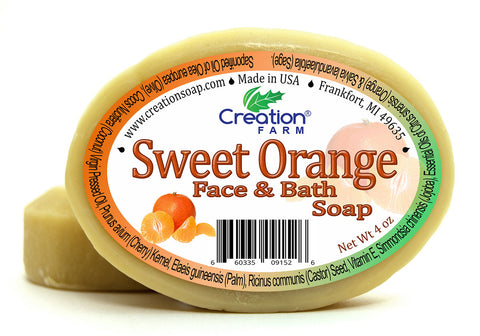Sweet Orange Soap - Moisturizing Pure Botanical Soap 4 oz Bar (Two 4 oz Bar Pack) - Creation Pharm