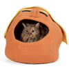 Handmade Wool Cat Cave Bed - Angry Orange