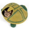 Handmade Wool Cat Cave Bed - Green Turtle