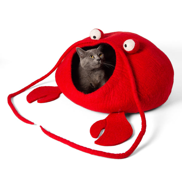 Handmade Wool Cat Cave Bed - Lobster