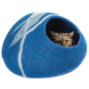 Handmade Wool Cat Cave Bed - Blue