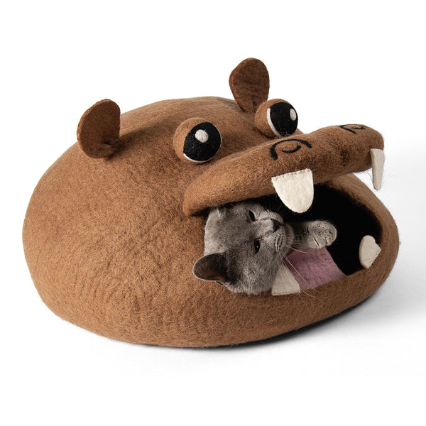Handmade Wool Cat Cave Bed - Brown Hippo