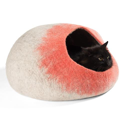 Handmade Wool Cat Cave Bed - Coral