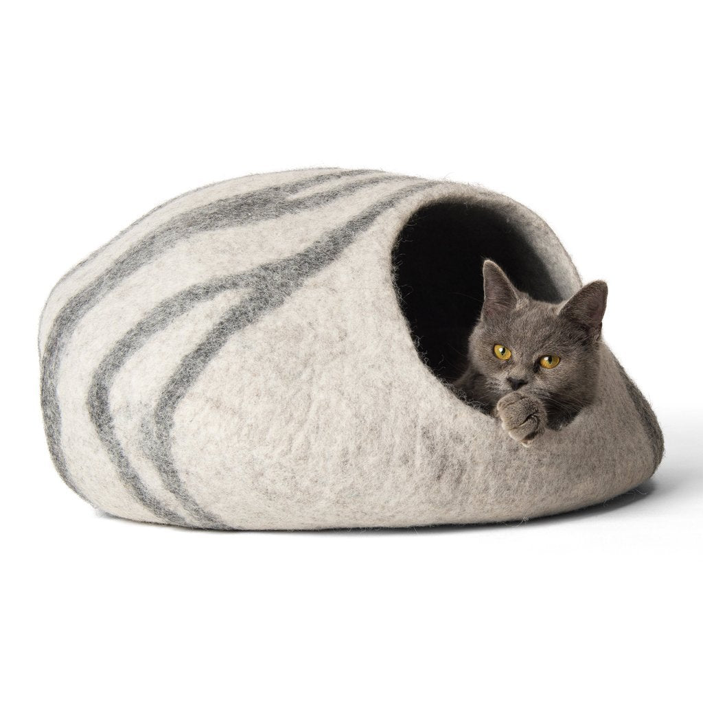 Handmade Wool Cat Cave Bed - Fog Grey