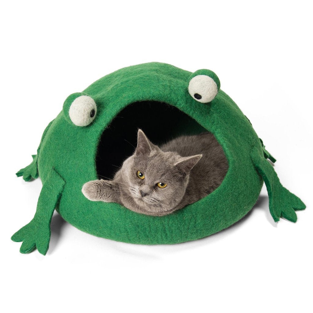 Handmade Wool Cat Cave Bed - Green Frog