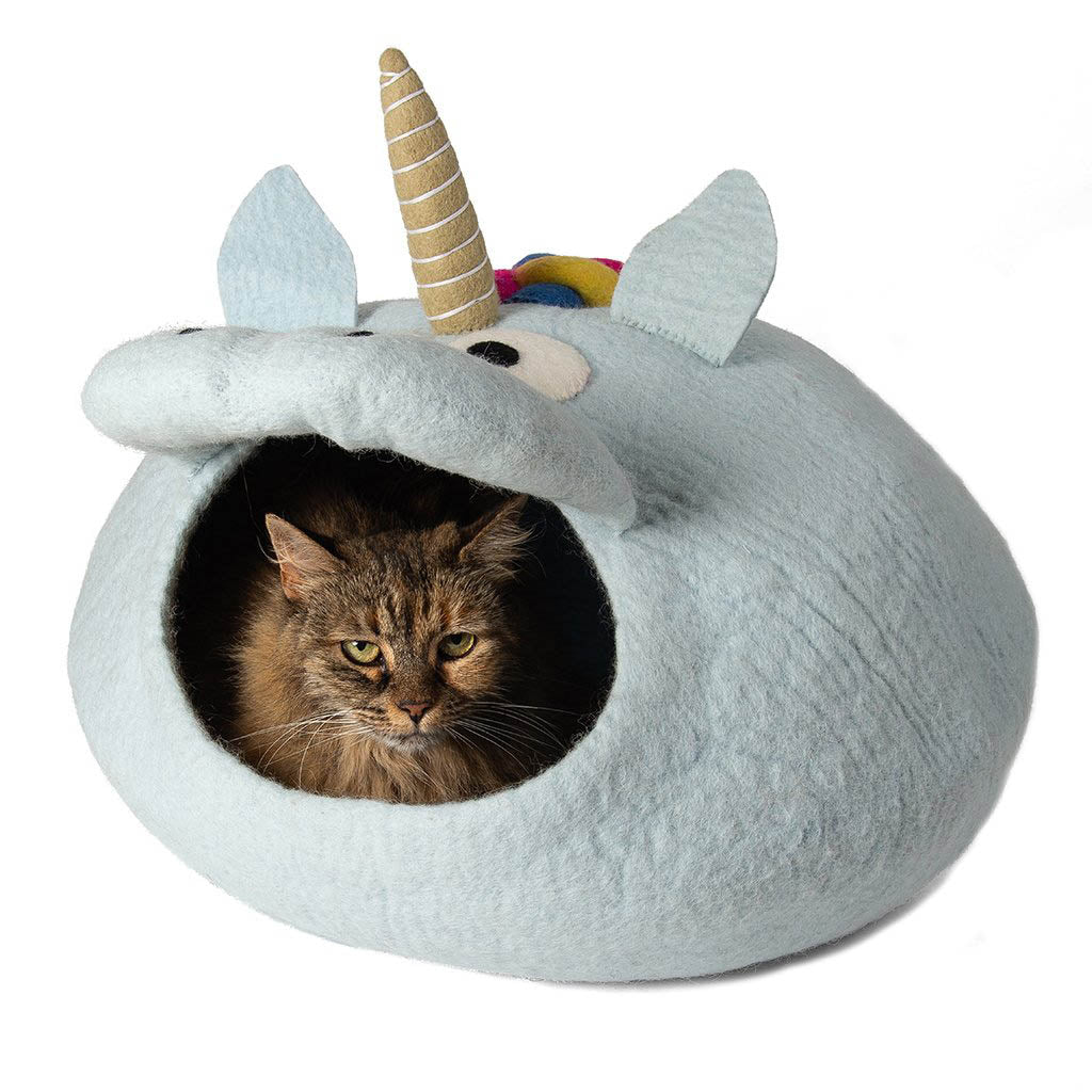 Handmade Wool Cat Cave Bed - Grey Unicorn