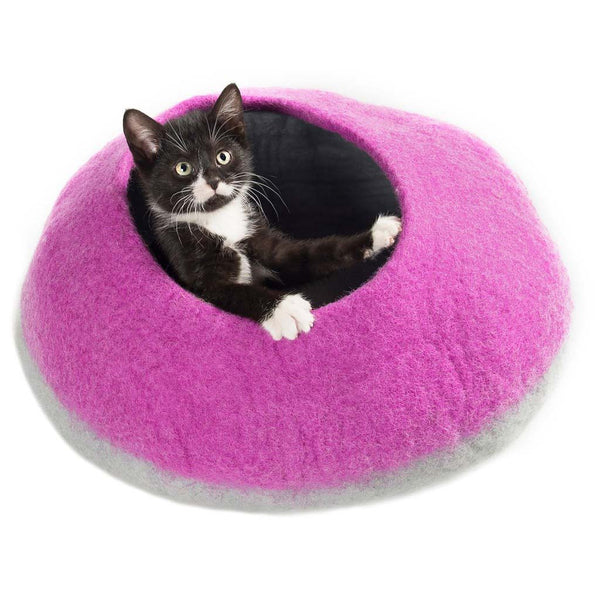 Handmade Wool Cat Cave Bed - Lilac Pot