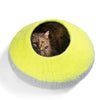 Handmade Wool Cat Cave Bed - Lime Burst