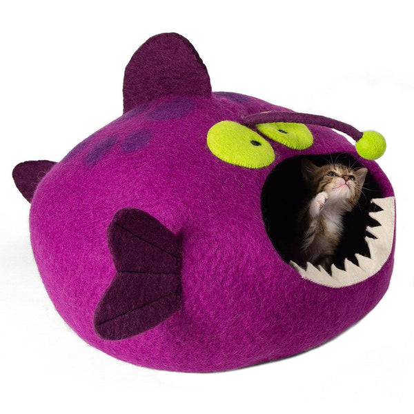 Handmade Wool Cat Cave Bed - Magenta Angler Fish