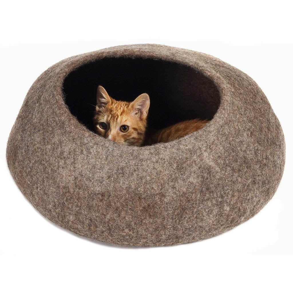 Handmade Wool Cat Cave Bed - Pebble Brown