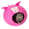 Handmade Wool Cat Cave Bed - Pink Pig