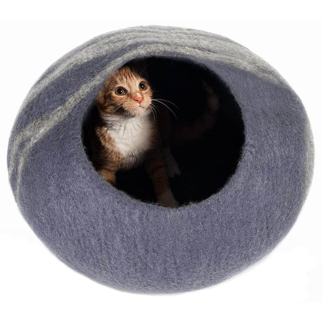Handmade Wool Cat Cave Bed - Slate Grey