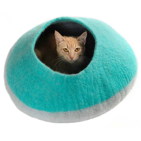 Handmade Wool Cat Cave Bed - Teal Pot