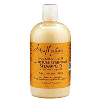 Raw Shea Butter Moisture Retention Shampoo with Argan Oil from Shea Moisture in a small round shampoo bottle