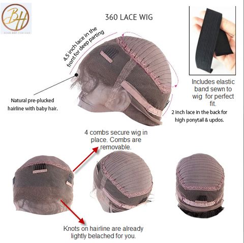 360 Lace wig cap structure for amazing wigs, 360cap with bleached knots and plucked frontal with baby hairs.