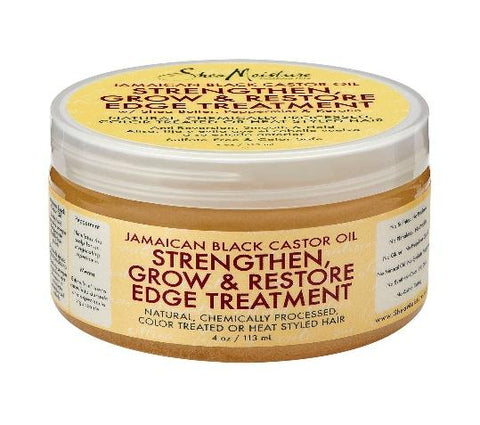JBCO Jamaican Black Castor Oil Strengthen grow and restore edge treatment  from shea moisture in a light yellow small oval round 4 ounce oz jar