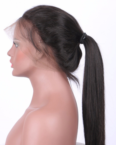 Lace wig slicked back into a very nice ponytail with human hair