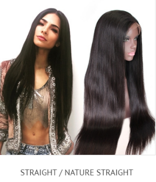 full lace, 360, lace frontal straight human hair wig