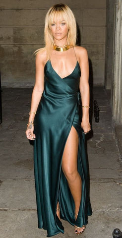 Image of Rihanna blonde hair with bangs and green satin dress