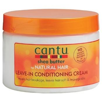 cantu shea butter leave in conditioner conditioning cream parabe, sulfate and silicone free for natural hair in round orange and white plastic jar with orange top cover