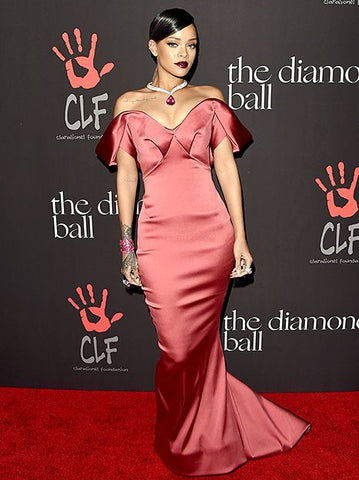 Rihanna Rih Rih in red satin dress sleek hair pulled back