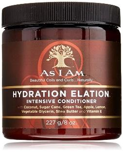 As I Am Hydration Elation intensive conditioner moisturizer for dry hair with coconut, glycerin and Vitamin E in a 8oz round brown gold and red jar