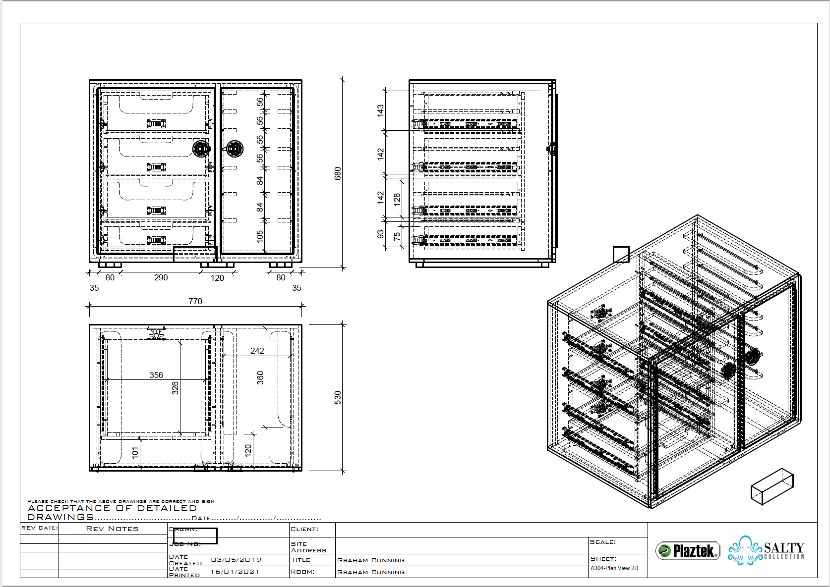 Plaztek Tackle Cabinets made to your size, detailed drawings for your approval