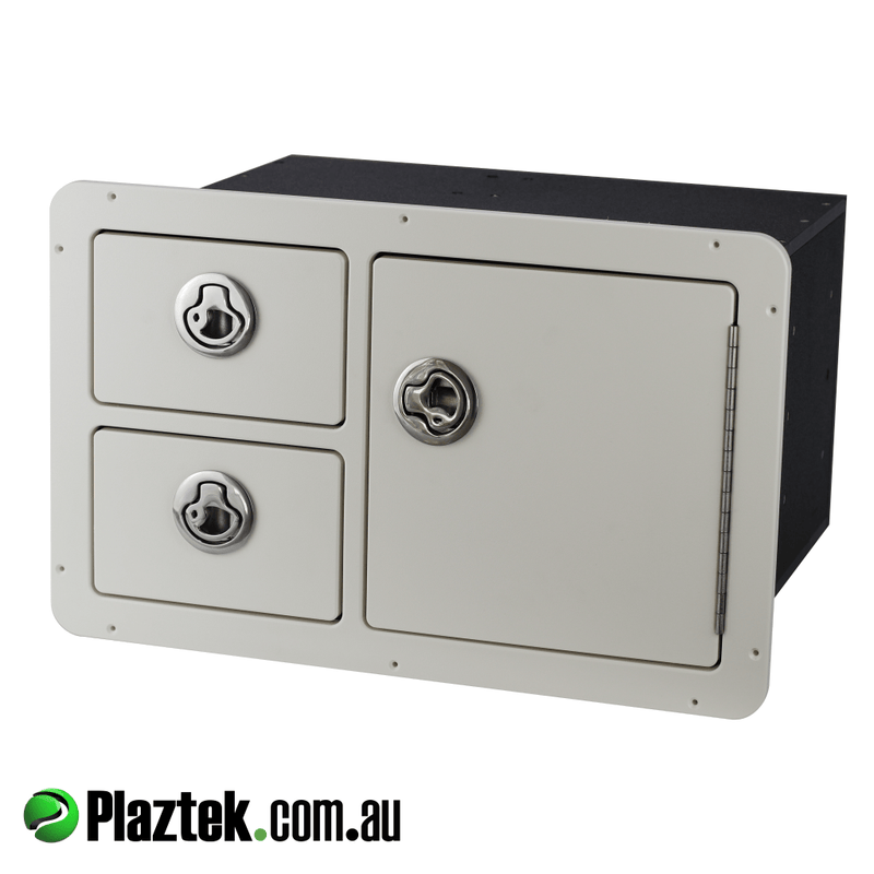 Plaztek Tackle Tray Drawer Combo holds 4 Plano STD trays in the 3700 series and 2 pull drawers for maximum storage in your boat colour is Arctic White King StarBoard