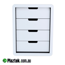 4 drawer open face tackle storage cabinet. White/White King StarBoard is used. Made in Australia.