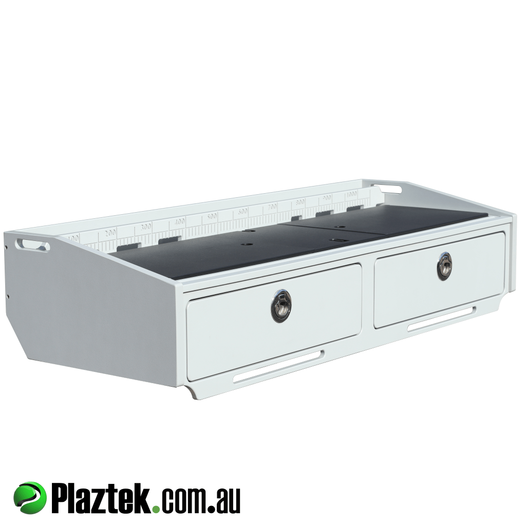 Plaztek Bait Boards  this is a 2 drawer for tackle storage built in, features full length fish measuring ruler and defrost bin under cutting board, made from King StarBoard®