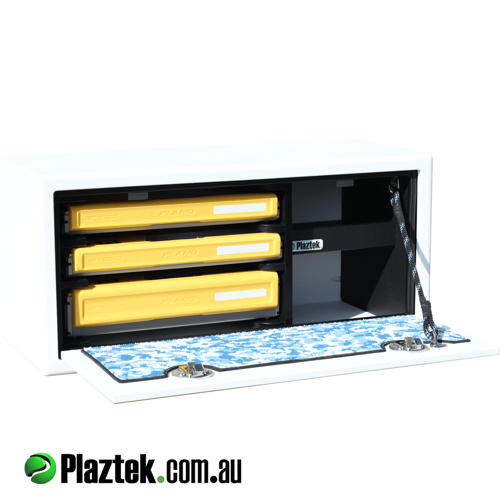 Plaztek Bait Board Storage, holds Plano fishing tackle  in 3700 series , 1x deep tray and 2x std edge tackle trays , made as a stand alone  product which is fully sealed to keep the water out, made from King Starboard in white colour