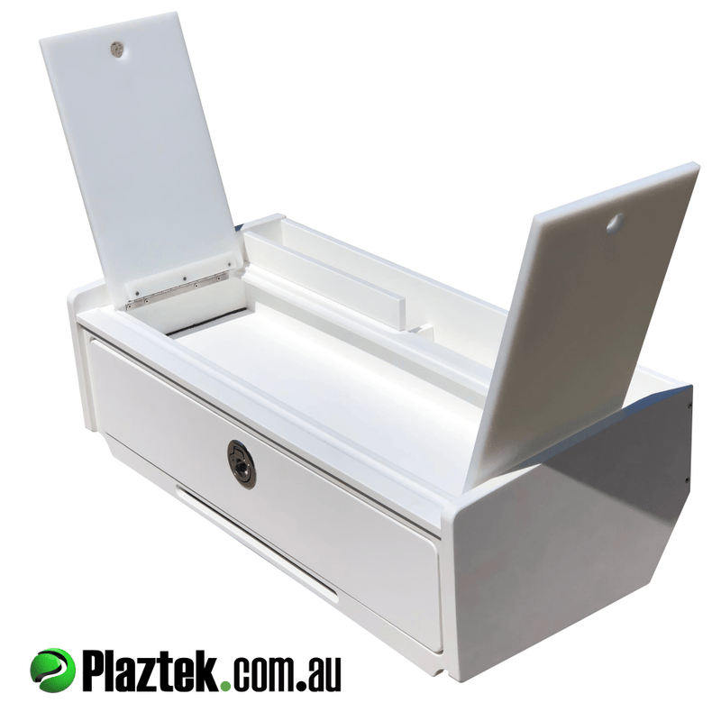 Plaztek Bait Board single drawer with defrost bin, drains via rear gutter a great place to store your baits out of the sun, the defrost bin is waterproof allowing for ice storage for stitch baits as well