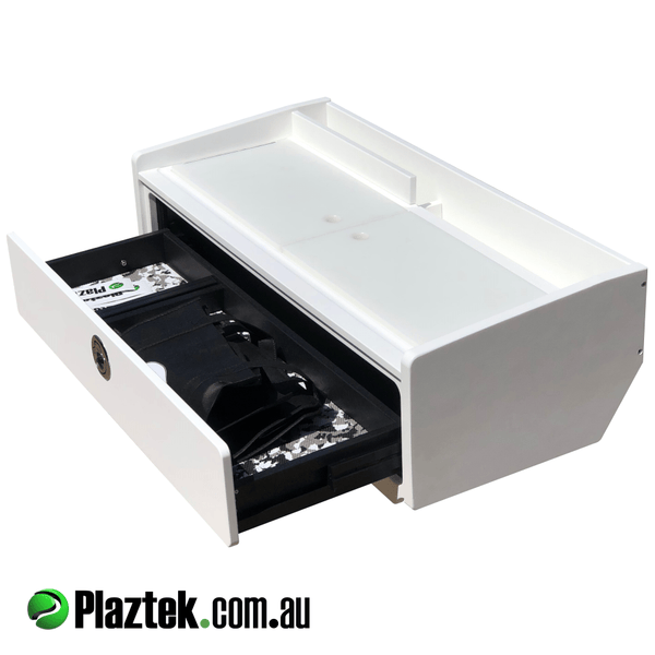 Plaztek Bait Board single drawer with defrost bin made from King StarBoard® comes in a range of colours, comes with fishing tool holders built in to rear gutter