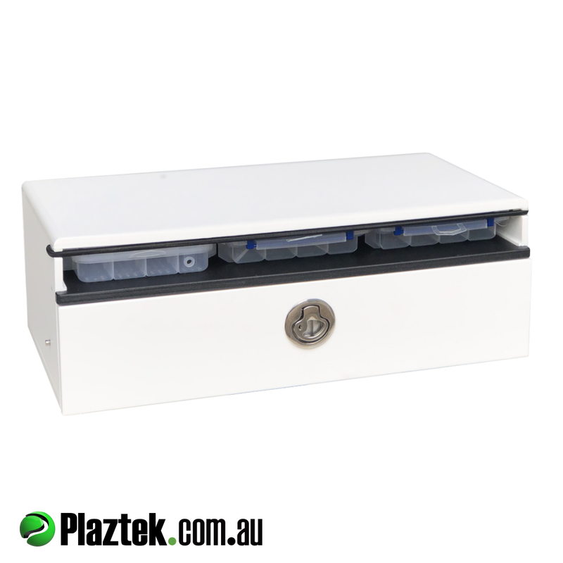 Plaztek Bait Board under Storage, combines a tackle drawer and tackle trays as one, can be mounted under existing bait board between legs, fits Relaxn bait boards