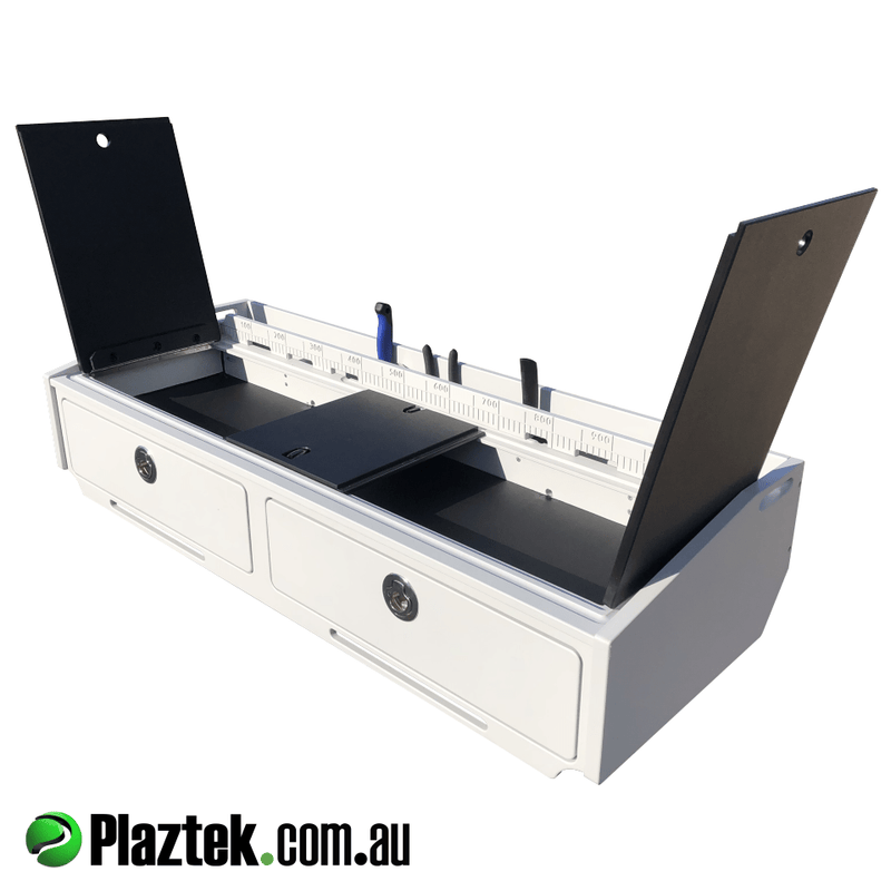 Bait boards with de frost bin under cutting board, features removable cutting surface for easy access when cleaning, Australian made by Plaztek