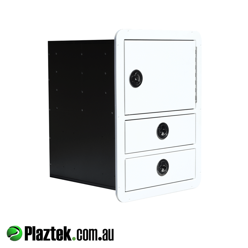 Plaztek King StarBoard 2 drawer with tackle cabinet and lockable S/S drawers. Made in Australia