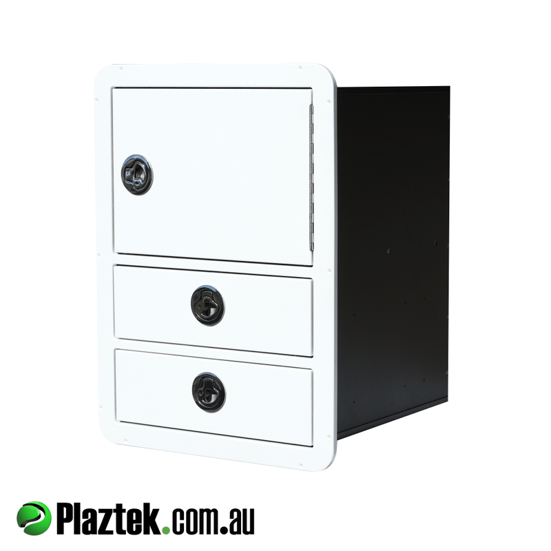Plaztek 2 drawer with Plano tackle tray shelf behind the top door. Made in Australia