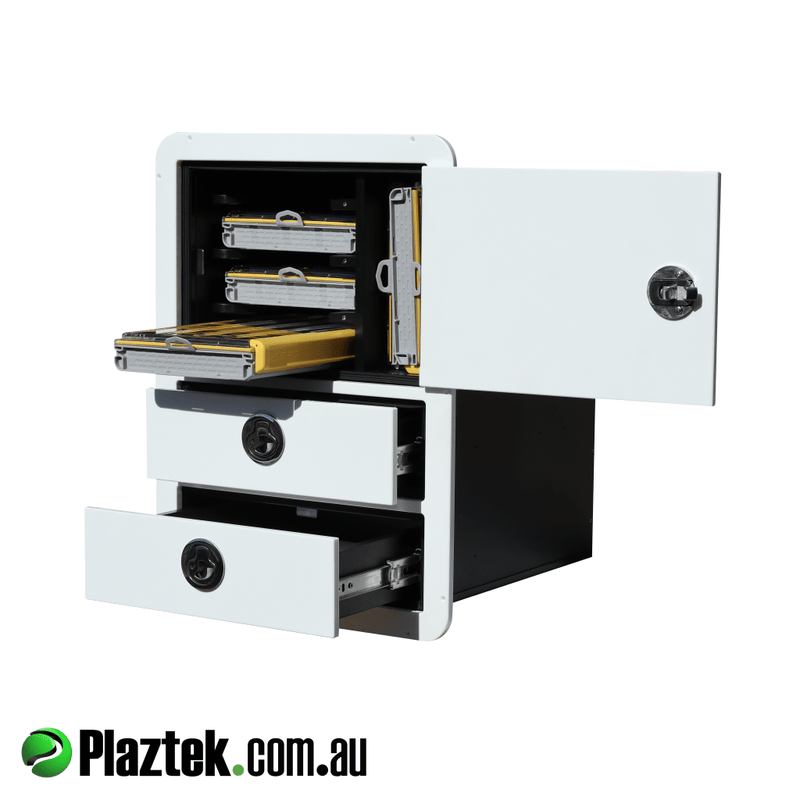 Plaztek boat outfitting 2 drawer with tackle storage. Stainless Steel ball bearing slides and lockable latches. Australian made in Queensland.