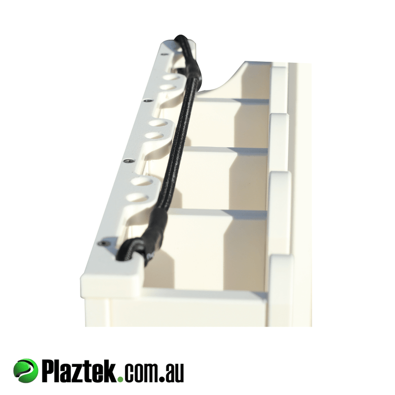 Plaztek boat 4 spear gun rack holder. Top view showing the cut out location for each spear gun. We custom make to order. Made in Australia.