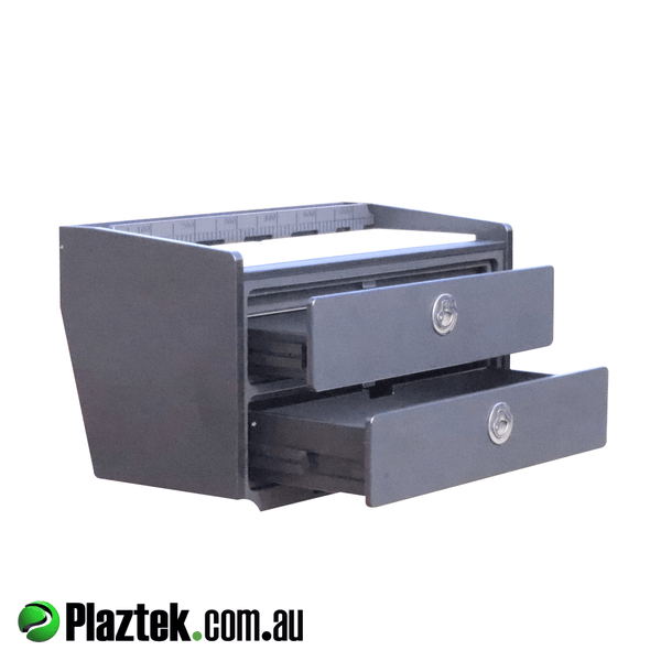 Boat bait board fitted with Plaztek made maintenance free drawer slides. Made in Australia.