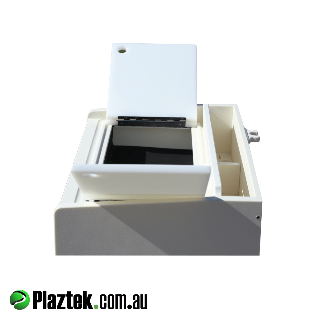 Plaztek boat bait board shown with cutting board doors open into defrost bin. Made in Australia