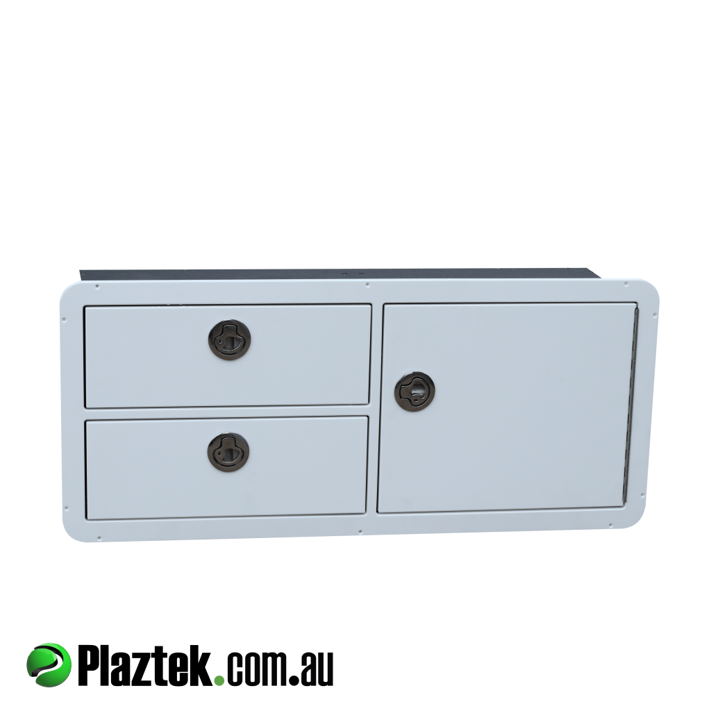 Tackle storage combo with 2 large drawers and tackle tray storage. Made in Australia.