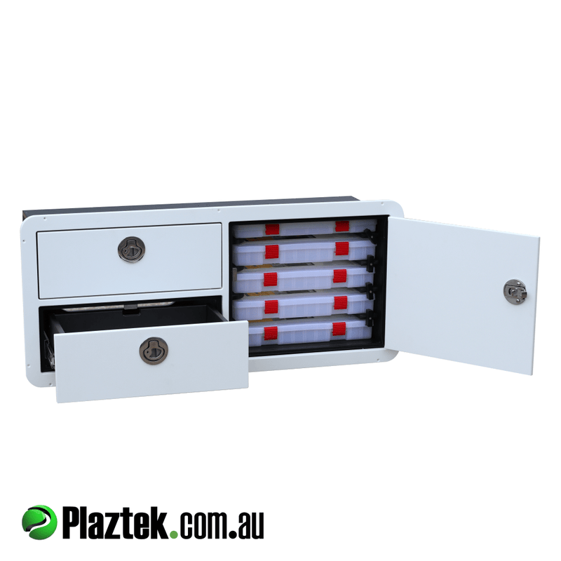 Boat combo tackle storage. Door open with the 3700 series Plano tackle trays. Made in Australia.