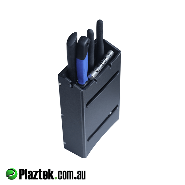 Plaztek fishing multi holder shown with tools in place.Made in Australia